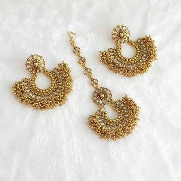 Wedding Bollywood Gold Chaand Bali Earrings Tikka Jewelry Studded With Kundan Crystals/Ethnic Temple Jewelry/Ram Leela Moon Earrings