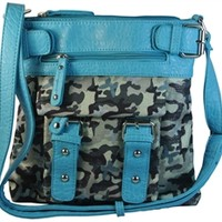 Sparkly Camo Cross Body with Butterflies Messenger Handbag Purse- Available in Choice of Colors
