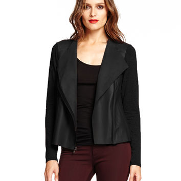 Michael Stars Zip Moto Jacket with Leather