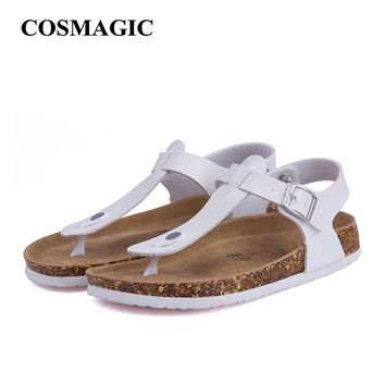 Fashion Cork Sandals Flats 2017 New Women Summer Buckle Strap Solid Beach Slipper Flip Flops Shoe Flat Free Shipping Plus Size