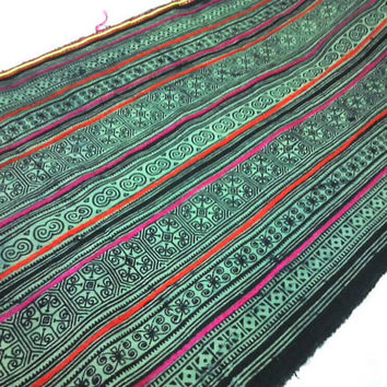 Northern Thailand Hmong Tribal Ethnic Fabric By The Yard 102 / Handwoven Hmong Cotton Textile