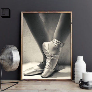 ballet photography, ballet shoes print, black and white photography, dancer poster, dancing shoes, ballet printable, ballet downloadable art