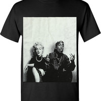GILDAN Tupac Marilyn Monroe Couple T Shirts Logo Hiphop Legend Graphic New Edition