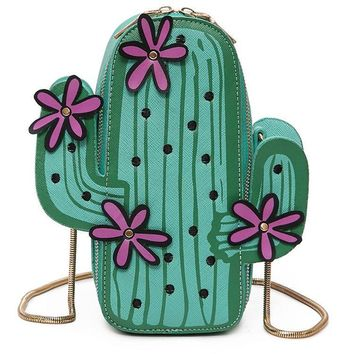 Novelty Clutch Cactus Flower Shape Leather Women Messenger Bag Small Girls' Crossbody Cross Body Bag Unique Chain Handtassen