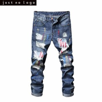 Mens Light Blue Jeans Painter With American Flag Pattern Patched Skinny Ripped Jeans Straight Slim Fit Denim Pants Trouser