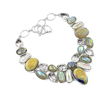 Golden Druzy, Labradorite, Green Amethyst and Pearl Statement Necklace in Sterling Silver