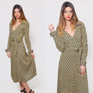 Vintage 70s DIANE Von FURSTENBERG Wrap Dress Original DVF Wrap Dress Paisley Print Midi Dress Deep V Wrap Dress