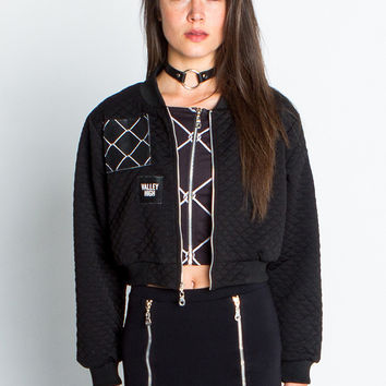Cropped Quilted Bomber Jacket