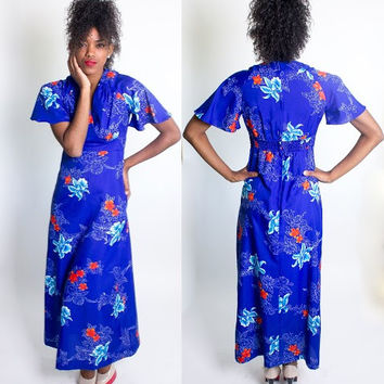 Vintage 1960's Royal Hawaiian Blue Floral Maxi Dress / Flutter Sleeves / Luau / Beach Party / Beach Blanket Bingo / Size Small