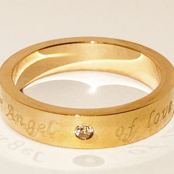 Classic lasting LOVE single diamond ring Korean version of simple fashion OL
