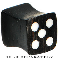 0 Gauge Organic Double Flare Areng Ebony Wood Dice Plug | Body Candy Body Jewelry