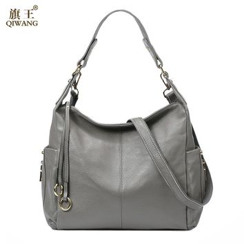 QIWANG 100% Grey Genuine Leather Bag Women's Handbag Ladies Shoulder Bags Satchel Purse Crossbody Hobo Large Capacity