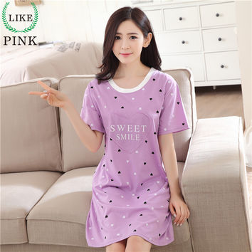 f74cee113a LIKEPINK 2017 Summer Women Nightgowns Cotton Nightwear O-neck Short Sleeve  Cartoon Printing Lingerie Sleeping