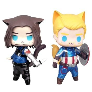 Avengers Captain America Cos Cat Mini 2.0 Action Figure 1/10 scale painted figure Cute Winter Soldier Bucky PVC figure Toys