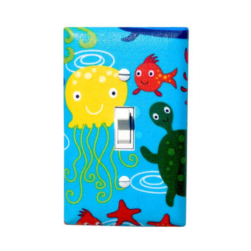 Under the Sea Light Switch Plate Cover / Gender Neutral Nursery Decor Bathroom /Jellyfish Sea Turlte Starfish / Ocean Critters in Ocean