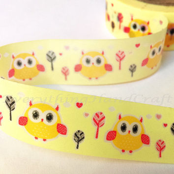 Owl Yellow Washi Tape / Masking Tape / Planner Sticker Adhesive Tape / Card Making Party Decoration Scrapbooking Stationery 10m h16