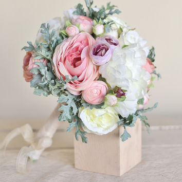 Silk Bridal Bouquet Pink Peonies Dusty Miller Garden Rustic Chic Wedding NEW 2014 Design by Morgann Hill Designs