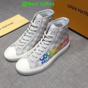 LV Louis Vuitton Men High Top Monogram Casual Boots Sneakers Sport Shoes Boots Fashion Best Quality WHITE