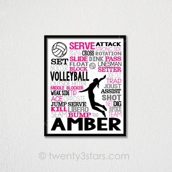 Volleyball Spiker Typography Wall Art - Choose Any Colors - twenty3stars