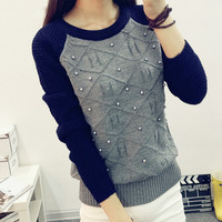 Women Sweater Winter Autumn Pullover Loose Bead Knitted Sweater