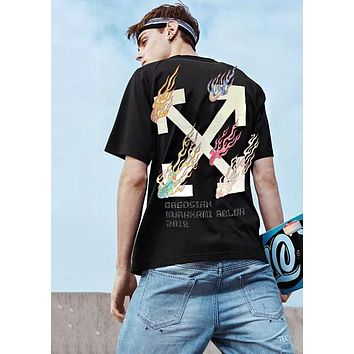 OFF-White Popular Women Men Casual Colorful Flame Cross Arrow Letters Print Couple Pure Cotton T-Shirt Top Black