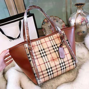 BURBERRY High Quality Fashionable Women Shopping Bag Leather Handbag Tote Shoulder Bag