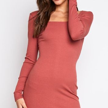 I'm Game Long Sleeve Wide Square Neck Bodycon Casual Mini Dress - 2 Colors Available