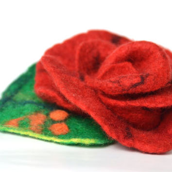 Brooch, red rose, felted flower, felted wool, Accessories, Felt Jewelry, floral, Handmade, unique brooch, gift for her, red, spring trends
