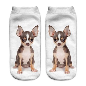 Animal Black Bulldog Puppy Low Cut Ankle Socks Funny Crazy Cool Novelty Cute Fun Funky Colorful