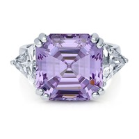 Sterling Silver Asscher Purple CZ 3-Stone RingBe the first to write a reviewSKU# R308-02