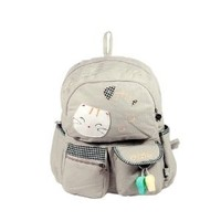 [Cat & Fish] 100% Cotton Fabric Art School Backpack / Outdoor Backpack