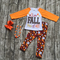 """baby girls outfits kids pant sets """"i love Fall"""" outfits Maple leaves print long sleeve clothing with matching necklace and bow"""