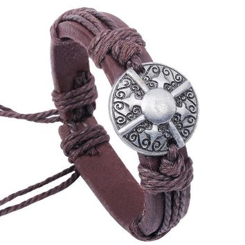 Medieval Gothic Shield Charm Genuine Leather Bracelet