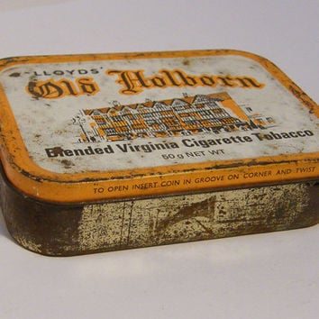Vintage Tobacco Tin 1950s Old Holborn Blended Virginia Cigarette Tobacco 50g Tobacco Tin