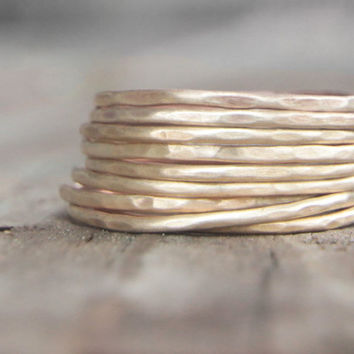 Stacking Skinny Rustic Rings Gold Dust Rings NINE Stacking Hammered Brushed Soldered Delicate Simple Rings Chic Summer Fashion