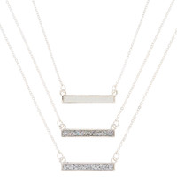 Silver Glitter Bar Pendant Necklaces - 3 Pack