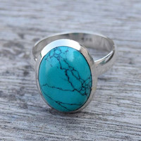 turquoise ring, silver ring,  stone ring, silver turquoise ring, 92.5 sterling silver, Natural Turquoise Silver Ring,  RNSLTR224