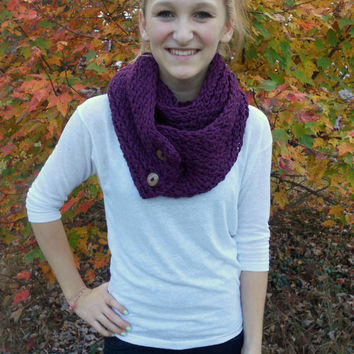 Plum Purple Knit Button Chunky Infinity Scarf by AquaGiraffe