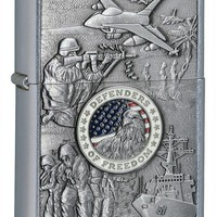 Zippo 24457 Joined Forces Emblem Street Chrome Lighter