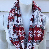 Christmas-Reindeer-Flannel-Handmade-Winter-Chunky-Women's-Kid's-Toddler-Mommy and Me-Infinity Scarf-Gifts for Her