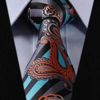 Grey, Black, and Turquoise Paisley Tie with Orange and Grey Accents