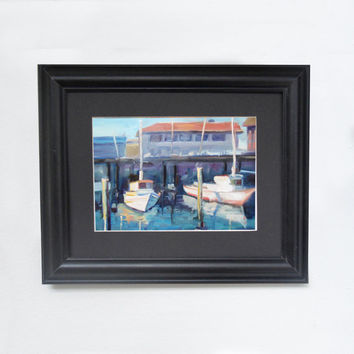 Fine art PRINT of San Francisco Bay Boats. Urban industrial art by Brandy Cattoor. 8x10 inch print. Summer, fun, outing print. Loose