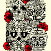 Sugar Skull Art, Sugar Skull Collage, Dictionary Art Print, Wall Decor, Wall Art, Day of the Dead, 024