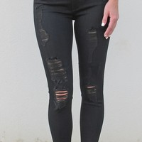 JBD Destroyed Crop Frayed {Black Jean}