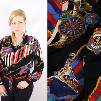 Vintage - 90s - Black - Novelty - Nautical - Paris - Anchors - Ship - Compass - Rope & Tassels - Front Tie - Button Up - Collar Blouse - Top