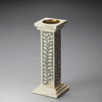 Traditional Bone Inlay Candle Holder Gray