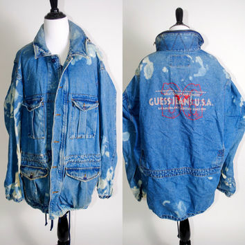 Vintage 1990s GUESS JEANS Oversize oversized Acid wash Bleached denim jean jacket coat grunge XL