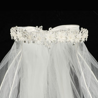 Corded Flowers, Rhinestones, Crystals & Pearls Crown Veil  First Holy Communion (One Size Girls)
