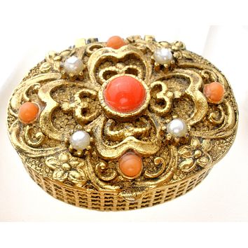 Vintage Orange Rhinestone & Pearl Pill Box