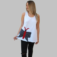 White loose open back top / Organic Cotton top / asymmetric women top / sexy summer top / one size loose top/ Butterfly top